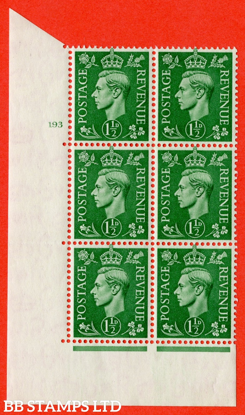 "SG. 505. Q9. 1½d Pale Green. A  superb UNMOUNTED MINT "" No Control cylinder 193 no dot "" control block of 6 with perf type 5 E/I."