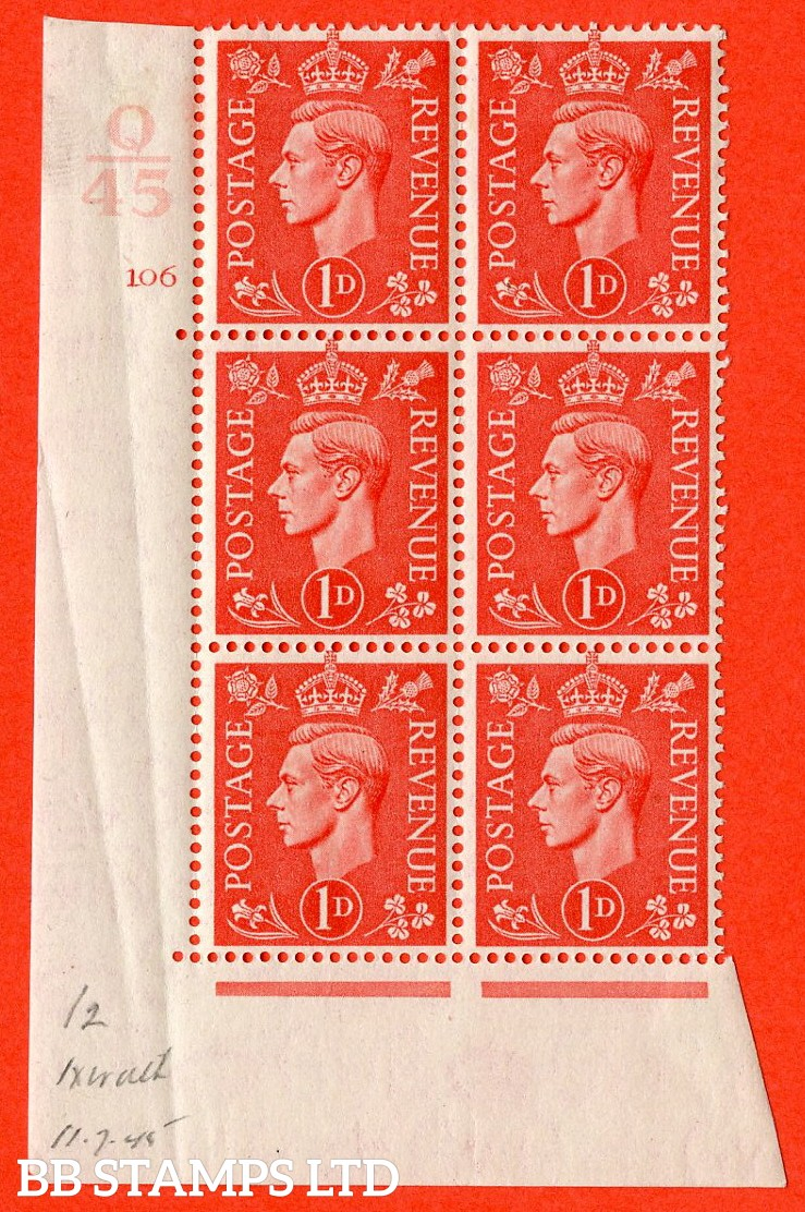 """SG. 486. Q5. 1d Pale scarlet. A fine mounted mint """" Control Q45 cylinder 106 no dot """" control block of 6 with perf type 5AE AE/I."""