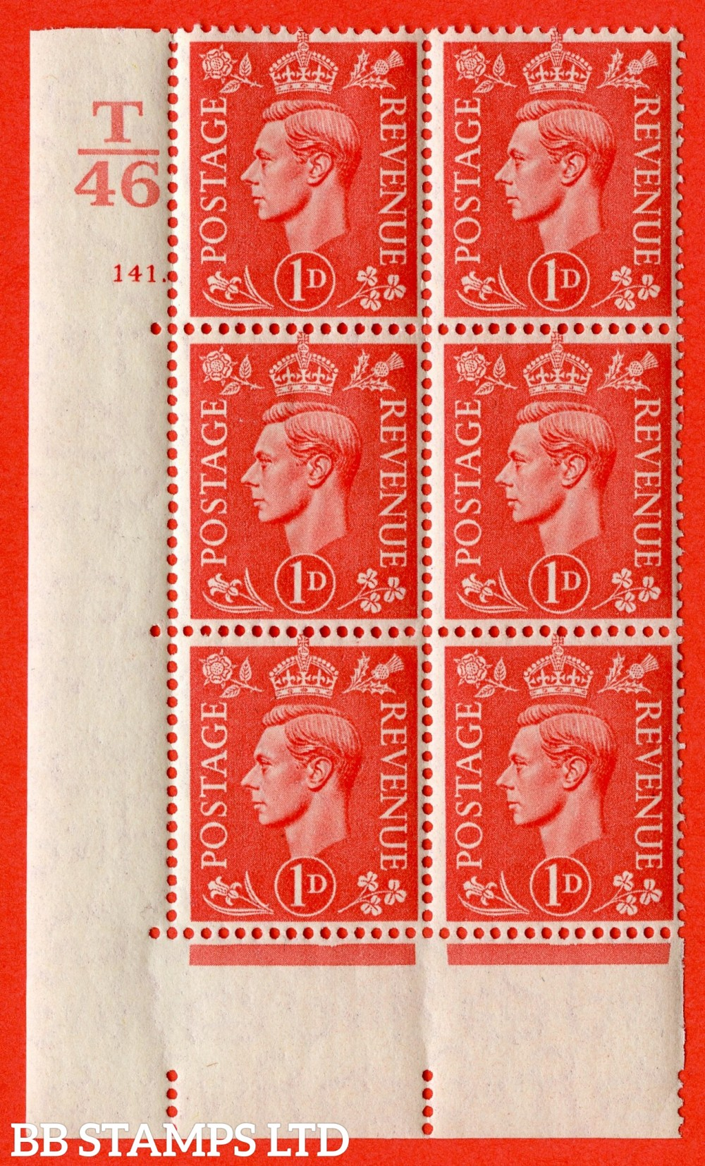 "SG. 486. Q5. 1d Pale Scarlet. A very fine lightly mounted mint "" Control T46 cylinder 141 dot "" control block of 6 with perf type 5 E/I."