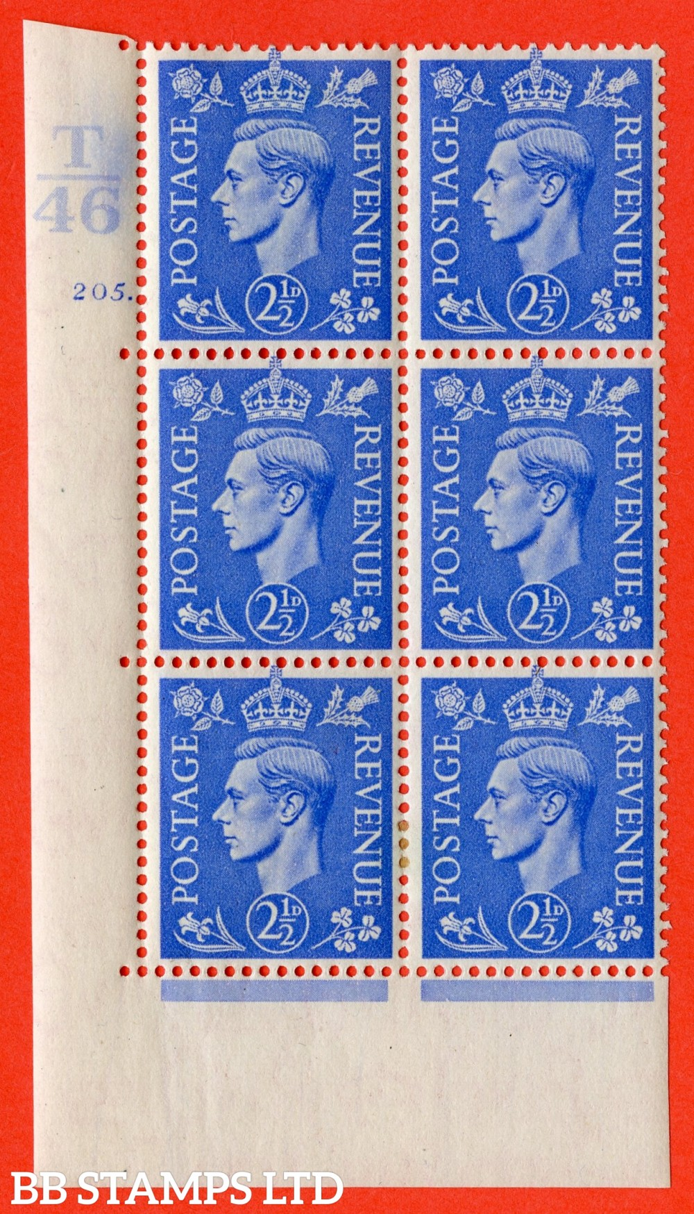 """SG. 489. Q14. 2½d Light ultramarine. A very fine lightly mounted mint """"  Control T46 cylinder 205 dot """" control block of 6 with perf type 5 E/I."""