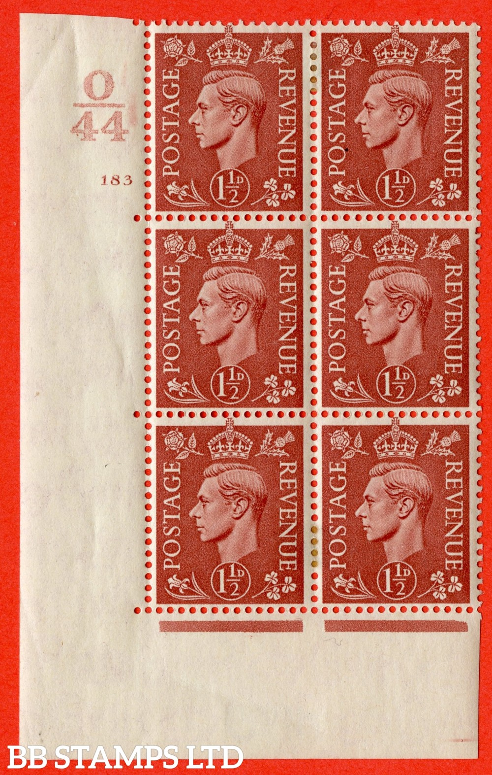 "SG. 487. Q8. 1½d Pale Red-Brown. A fine lightly mounted mint "" Control O44 cylinder 183 no dot "" control block of 6 with perf type 5 E/I."