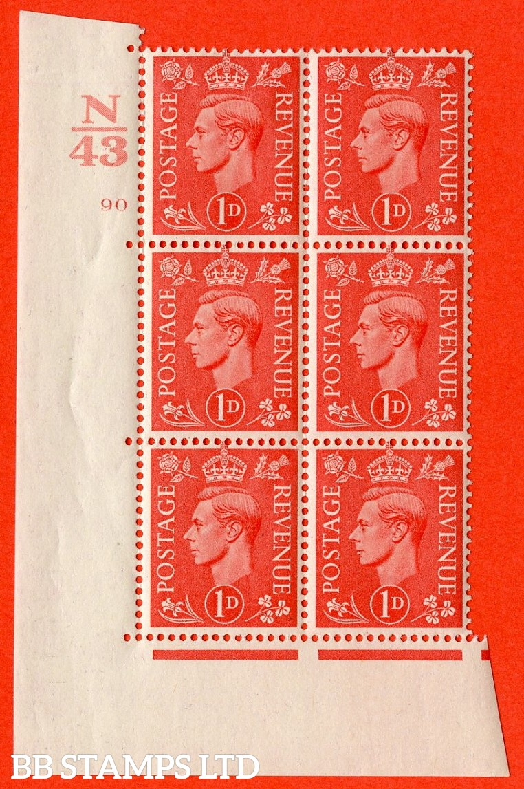 "SG. 486. Q5. 1d Pale scarlet. A fine lightly mounted mint ""  Control N43 cylinder 90 no dot "" control block of 6 with perf type 5 E/I."