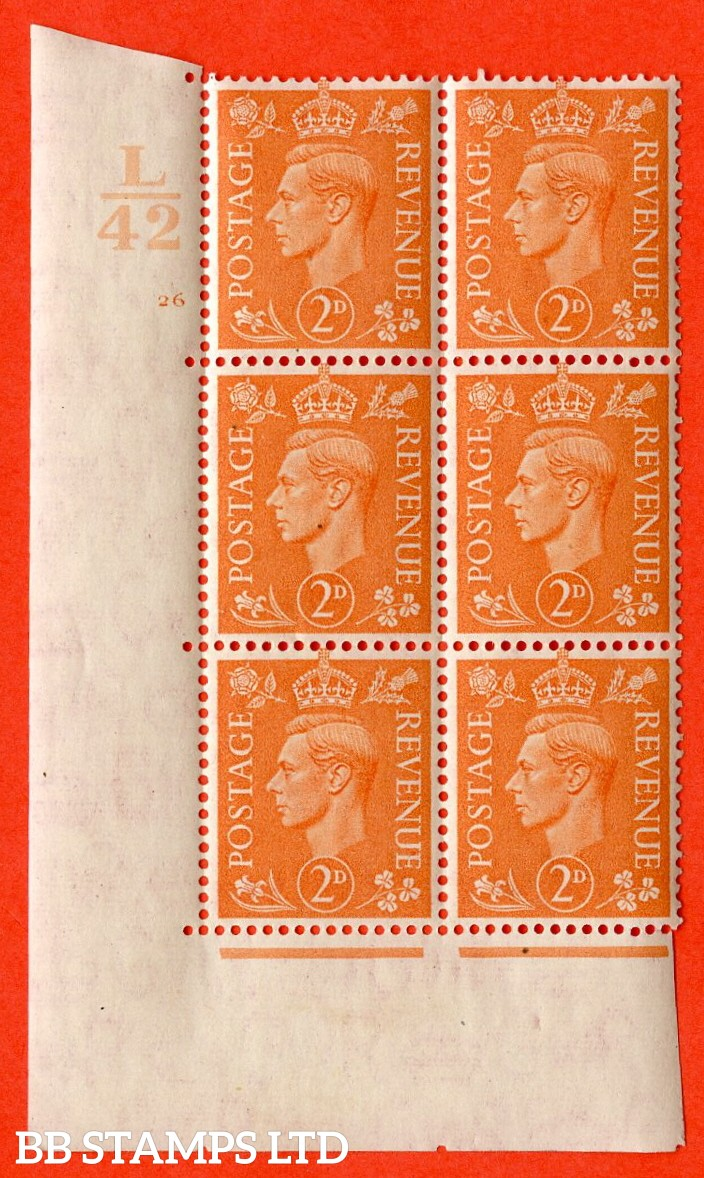 """SG. 488. Q11. 2d Pale Orange. A superb UNMOUNTED MINT """" Control L42 cylinder 26 no dot """" control block of 6 with perf type 5 E/I."""