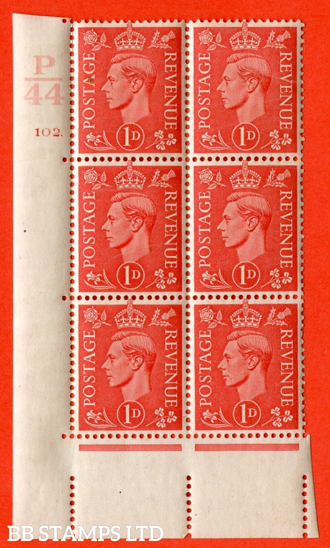 "SG. 486. Q5. 1d Pale scarlet. A superb UNMOUNTED MINT ""  Control P44 cylinder 102 dot "" control block of 6 with perf type 5 E/I."