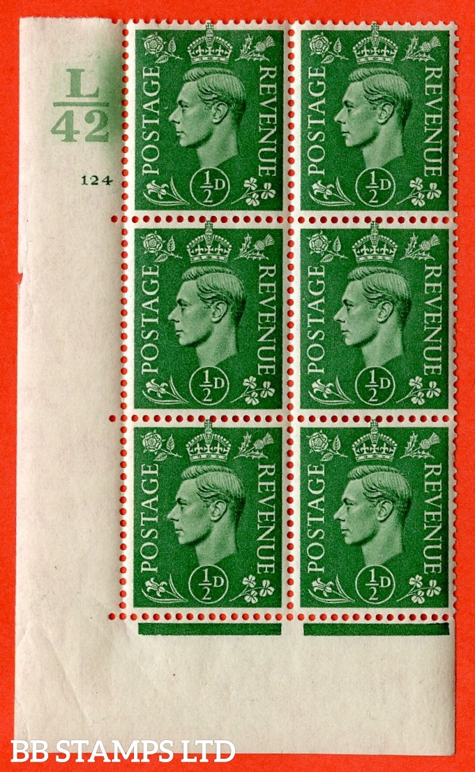 "SG. 485. Q2. ½d Pale Green. A very fine lightly mounted mint "" Control L42 cylinder 124 no dot "" block of 6 with perf type 5 E/I with marginal rule."