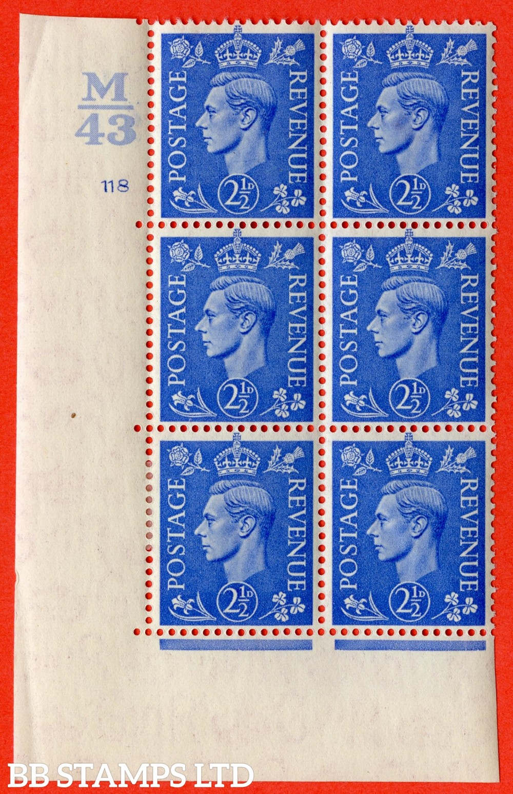 "SG. 489. Q14. 2½d Light ultramarine. A very fine lightly mounted mint ""  Control M43 cylinder 118 dot "" control block of 6 with perf type 5 E/I."