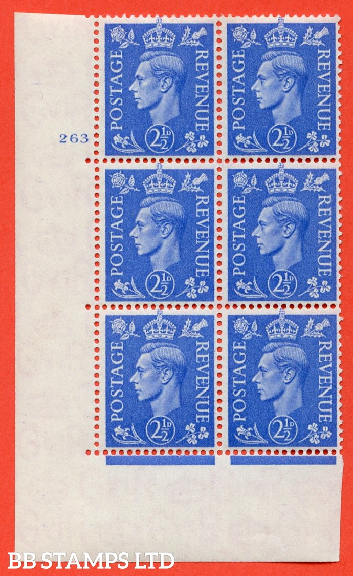 "SG. 489. Q14. 2½d Light ultramarine. A  superb UNMOUNTED MINT ""  No Control cylinder 263 no dot "" control block of 6 with perf type 5 E/I."
