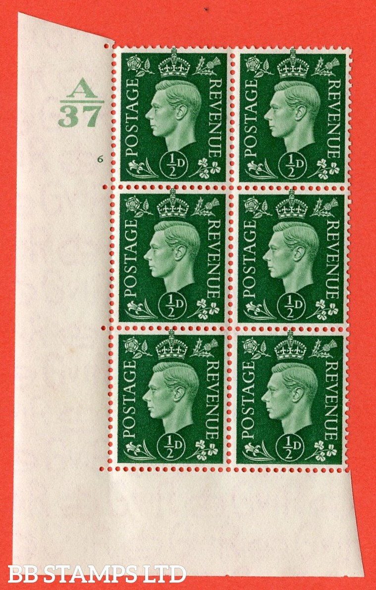 "SG. 462. Q1. ½d Green. A superb UNMOUNTED MINT "" Control A37 cylinder 6 no dot "" block of 6 with perf type 5 E/I without marginal rule."