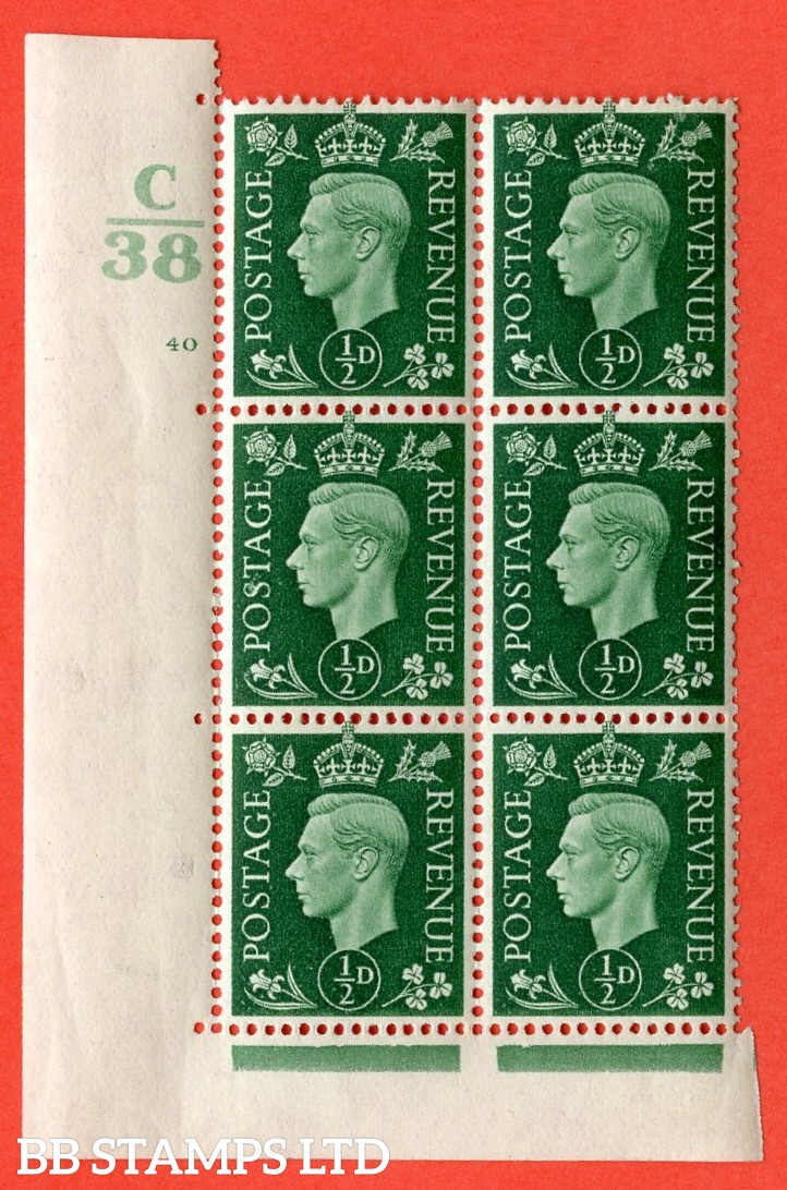 "SG. 462. Q1. ½d Green. A superb UNMOUNTED MINT "" Control C38 cylinder 40 no dot "" block of 6 with perf type 5 E/I with marginal rule."