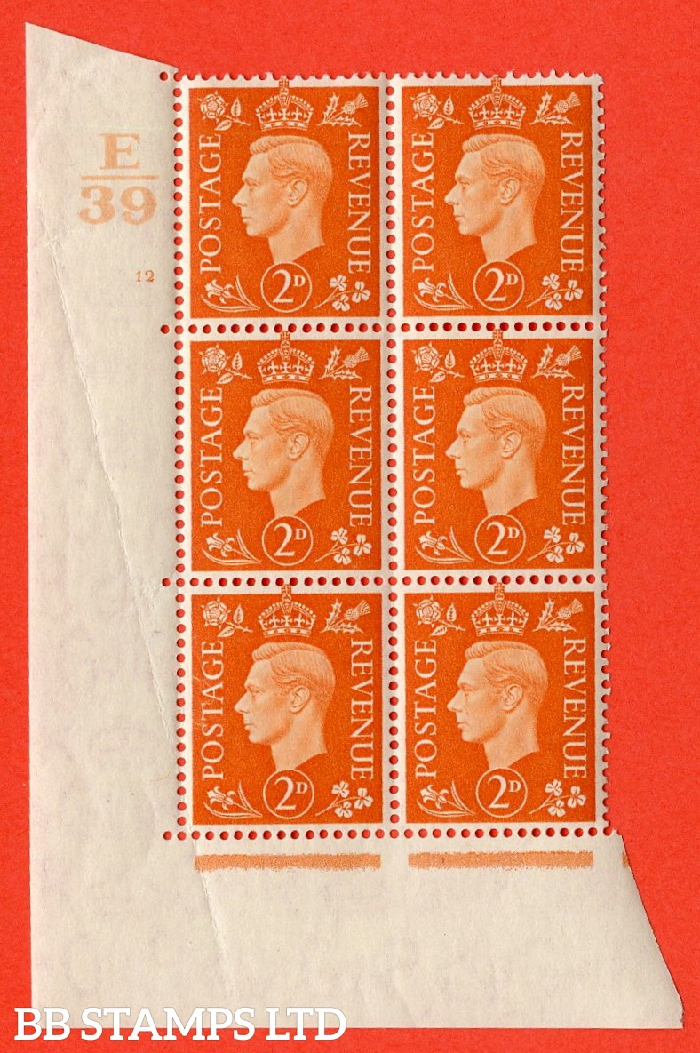 "SG. 465. Q10. 2d Orange. A superb UNMOUNTED MINT "" Control E39 cylinder 12  no dot "" control block of 6 with perf type 5 E/I. Creased."