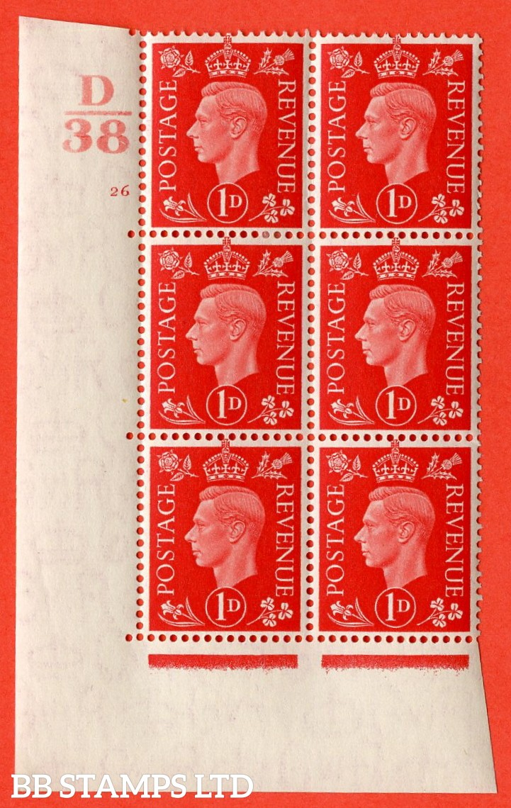 "SG. 463. Q4. 1d Scarlet. A very fine lightly mounted mint "" Control D38 cylinder 26 no dot "" block of 6 with perf type 5 E/I with marginal rule."