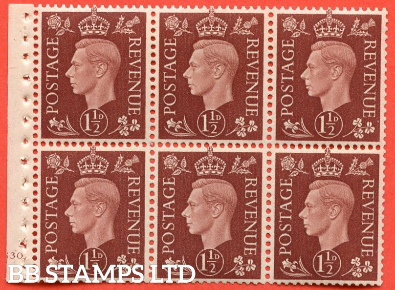 "SG. 464. QB21. 1½d Red - Brown.  A fine mounted mint "" cylinder G30 no dot "" complete booklet pane with selvedge. Perf type B3(I)."