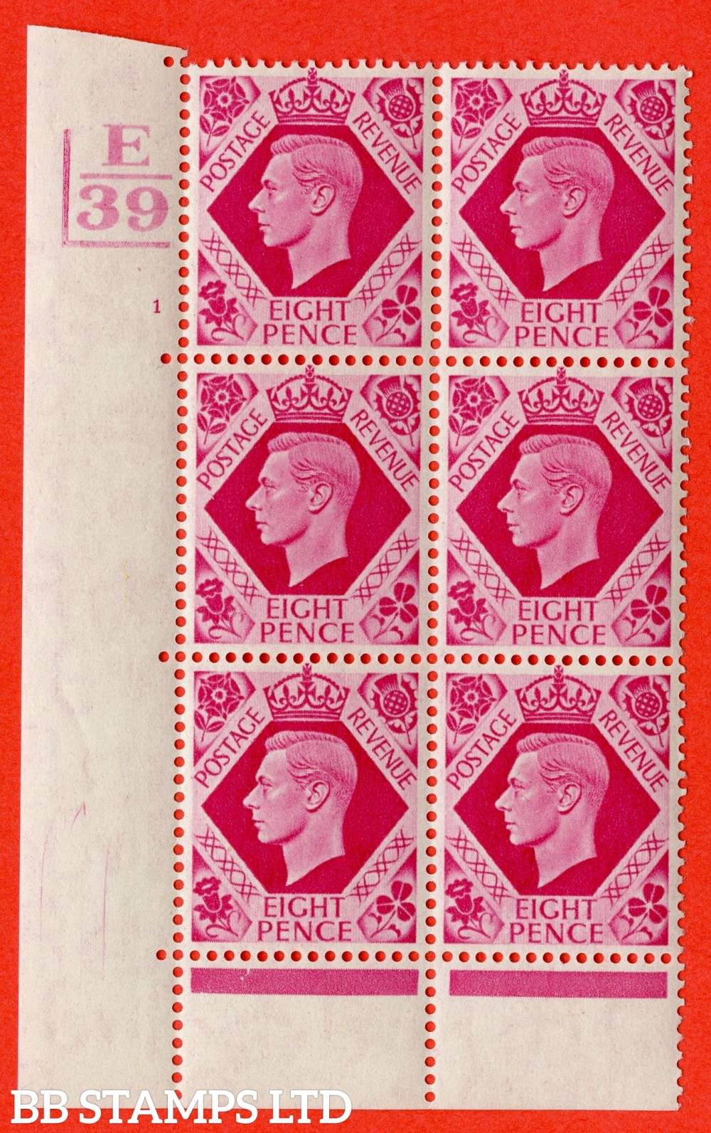 "SG. 472. Q24. 8d Carmine. A very fine UNMOUNTED MINT "" Control E39. 2 Bars. Cylinder 1 no dot "" control block of 6 with perf type 6B E/P."