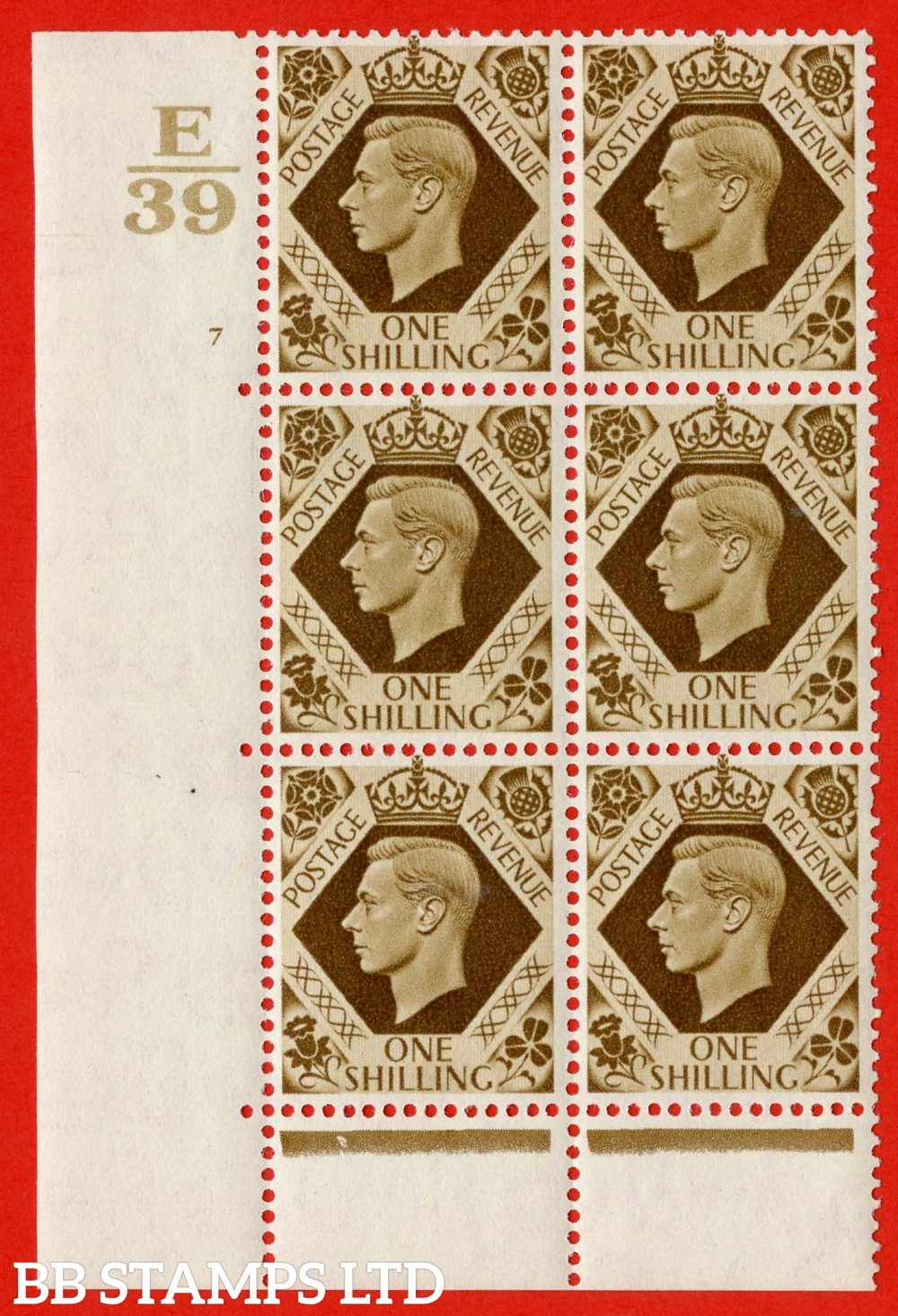 "SG. 475. Q28. a. 1/- Bistre-Brown. A fine lightly mounted mint "" Control E39 cylinder 7 no dot "" control block of 6 with perf type 6B E/P."