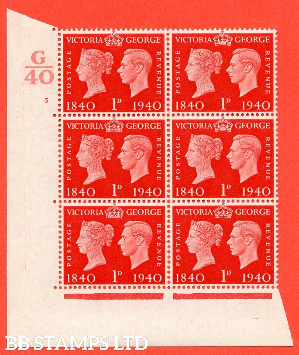 """SG. 480. QCom3. 1d Scarlet. A Superb UNMOUNTED MINT """" Control G40 cylinder 5 no dot """" block of 6 with perf type 5 E/I"""