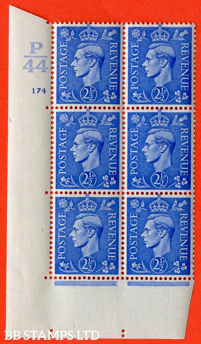 "SG. 489. Q14. 2½d Light ultramarine. A superb UNMOUNTED MINT ""  Control P44 cylinder 174 no dot "" control block of 6 with perf type 5 E/I."