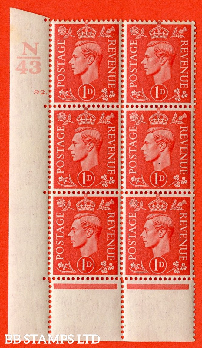 "SG. 486. Q5. 1d Pale scarlet. A superb UNMOUNTED MINT ""  Control N43 cylinder 92 dot "" control block of 6 with perf type 5 E/I. Perf encroachment."