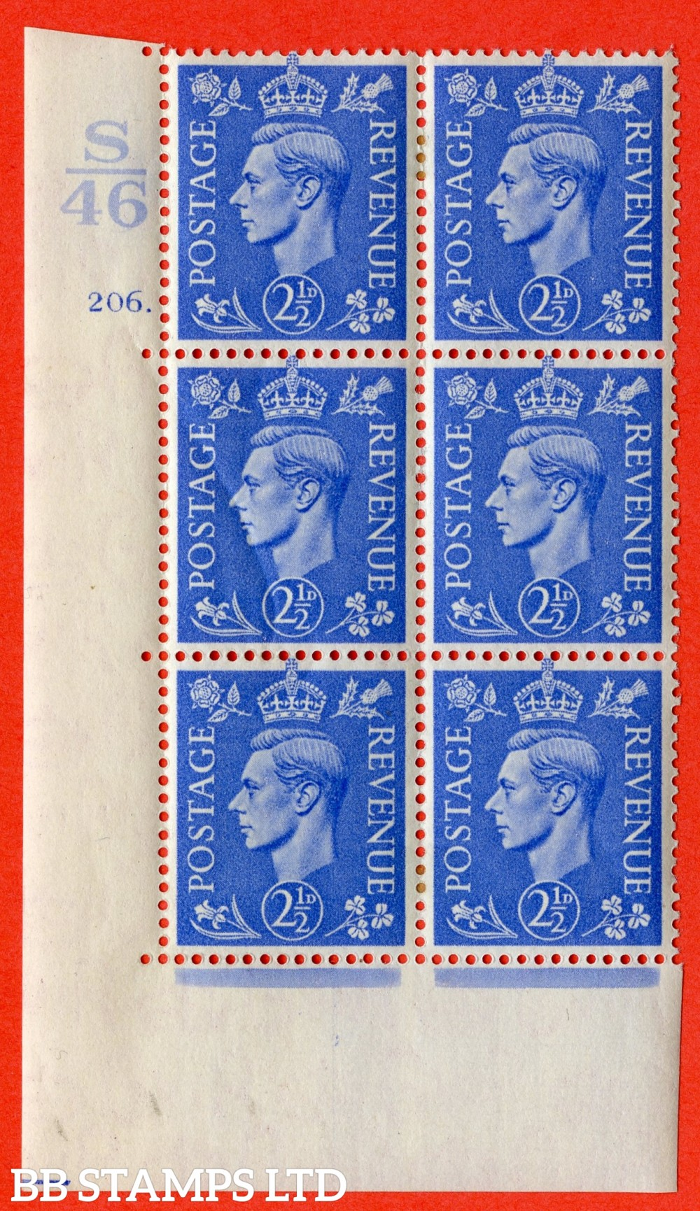 """SG. 489. Q14. 2½d Light ultramarine. A very fine lightly mounted mint """"  Control S46 cylinder 206 dot """" control block of 6 with perf type 5 E/I."""