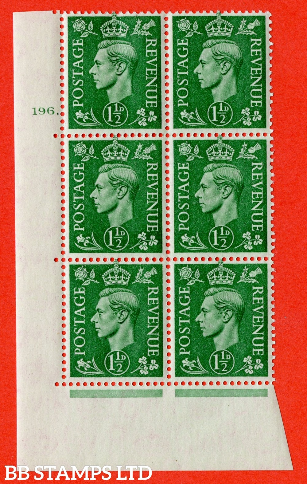 "SG. 505. Q9. 1½d Pale Green. A superb UNMOUNTED MINT "" No Control cylinder 196 dot "" control block of 6 with perf type 5 E/I."