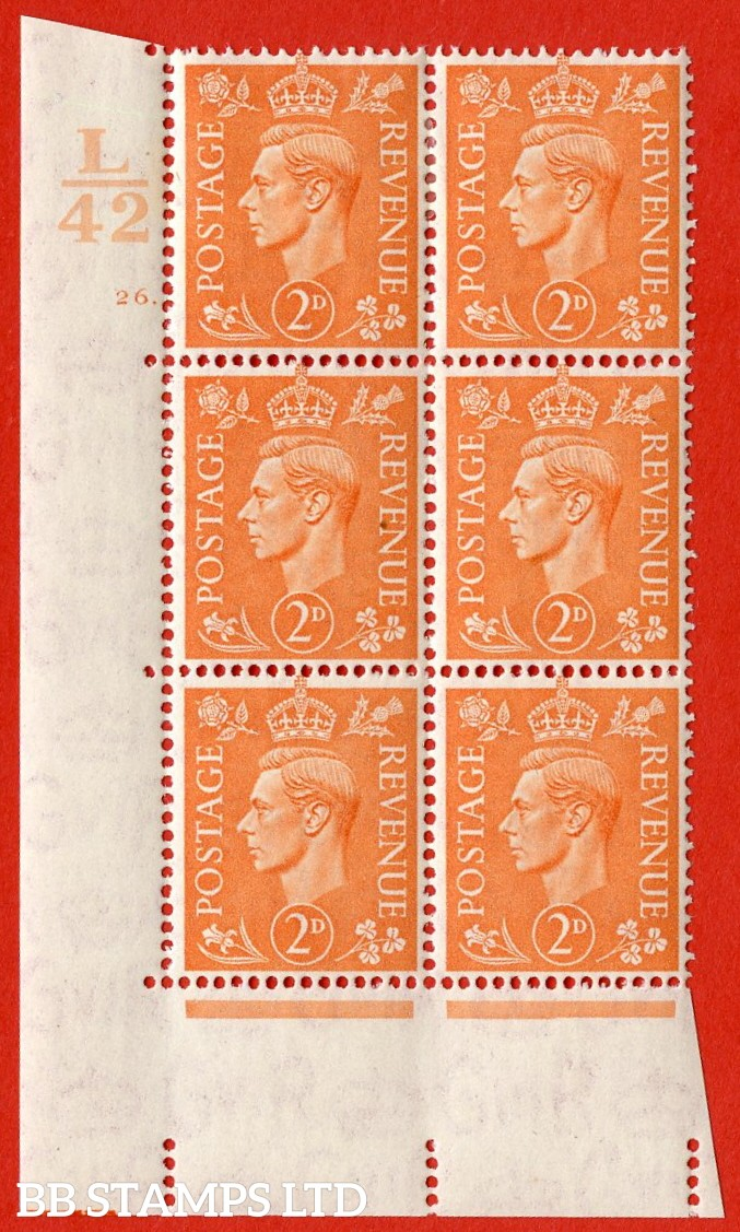 "SG. 488. Q11. 2d Pale Orange. A very fine lightly mounted mint "" Control L42 cylinder 26 dot "" control block of 6 with perf type 5 E/I."