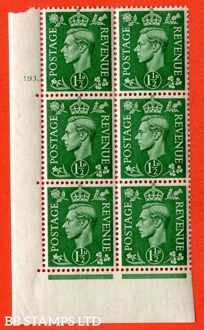 "SG. 505. cQ9. 1½d Pale Green. A superb UNMOUNTED MINT  "" No Control cylinder 193 dot "" control block of 6 with perf type 5 E/I."