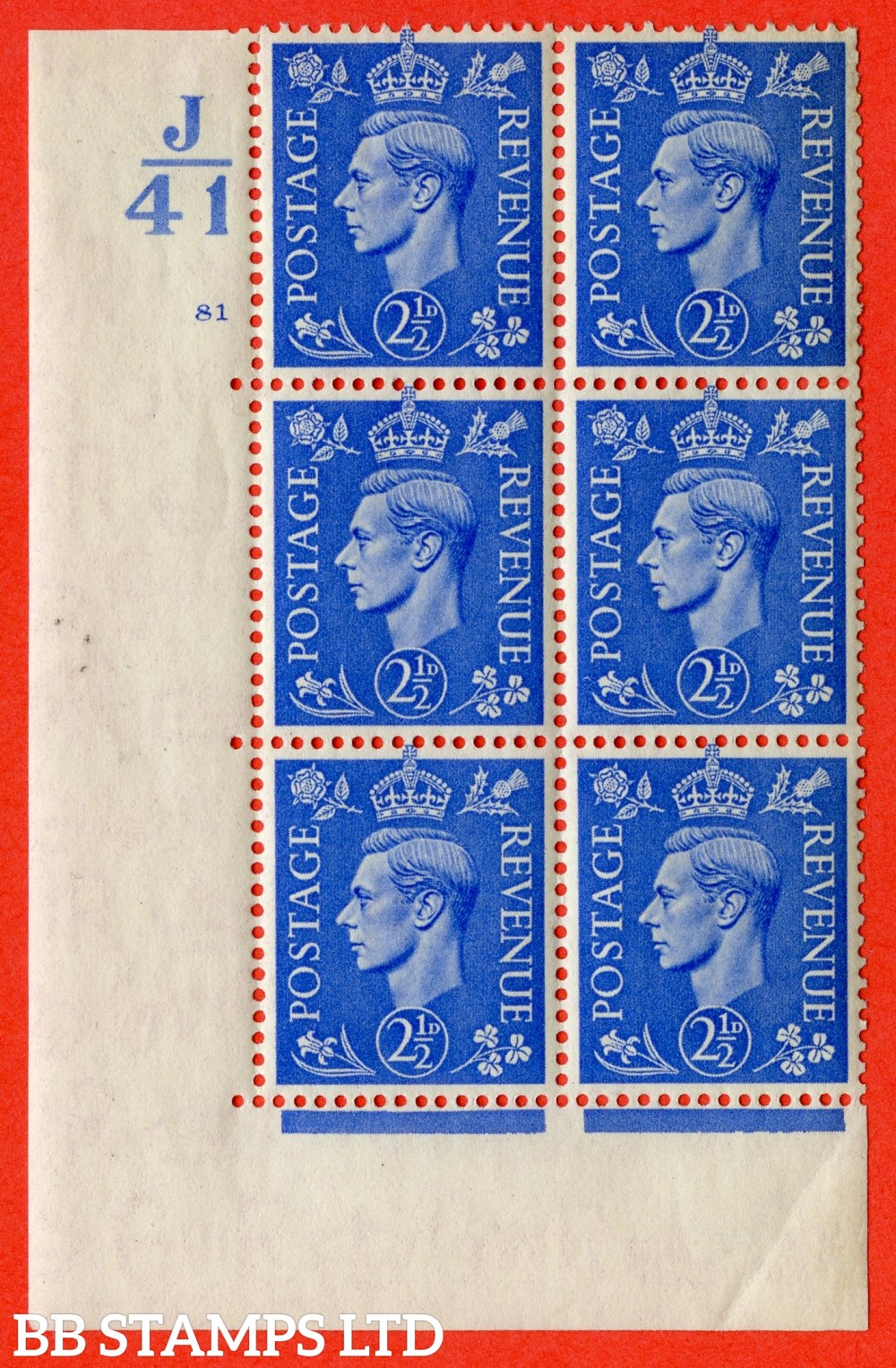 "SG. 489. Q14. 2½d Light ultramarine. A very fine lightly mounted mint ""  Control J41 cylinder 81 no dot "" control block of 6 with perf type 5 E/I."