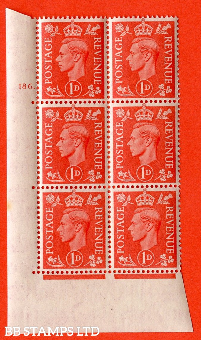 "SG. 486. Q5A. 1d Pale scarlet. A superb UNMOUNTED MINT "" No Control  cylinder 186 dot "" control block of 6 with perf type 5 E/I."