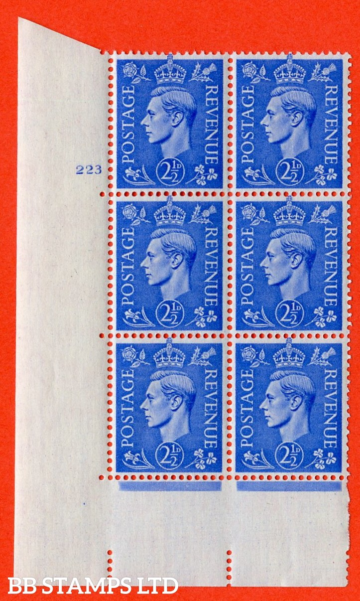 "SG. 489. Q14. 2½d Light ultramarine. A superb UNMOUNTED MINT ""  No Control cylinder 223 no dot "" control block of 6 with perf type 5 E/I."