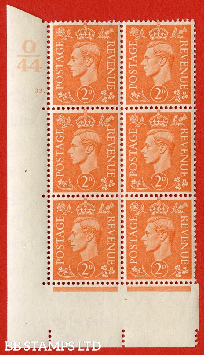 "SG. 488. Q11. 2d Pale Orange. A very fine lightly mounted mint. "" Control O44 cylinder 33 dot "" control block of 6 with perf type 5 E/I."