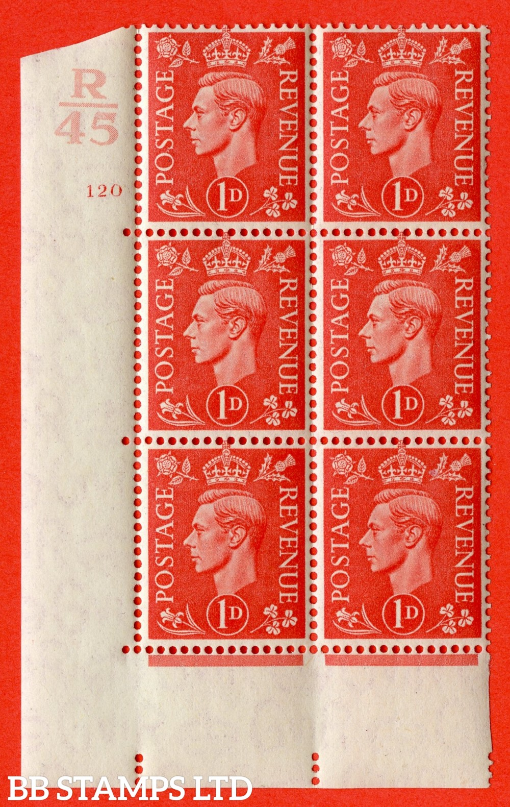"SG. 486. Q5. 1d Pale scarlet. A fine lightly mounted mint "" Control R45 cylinder 120 no dot "" control block of 6 with perf type 5 E/I."
