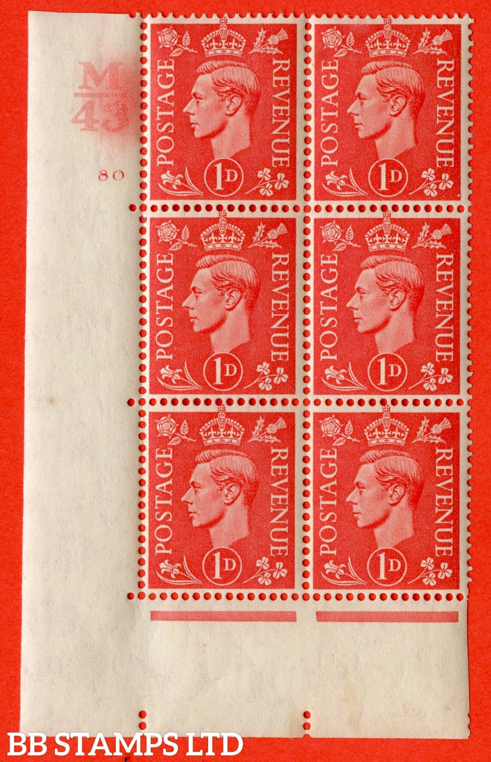 "SG. 486. Q5. 1d Pale scarlet. A fine lightly mounted mint "" Control M43 cylinder 80 no dot "" control block of 6 with perf type 5 E/I."