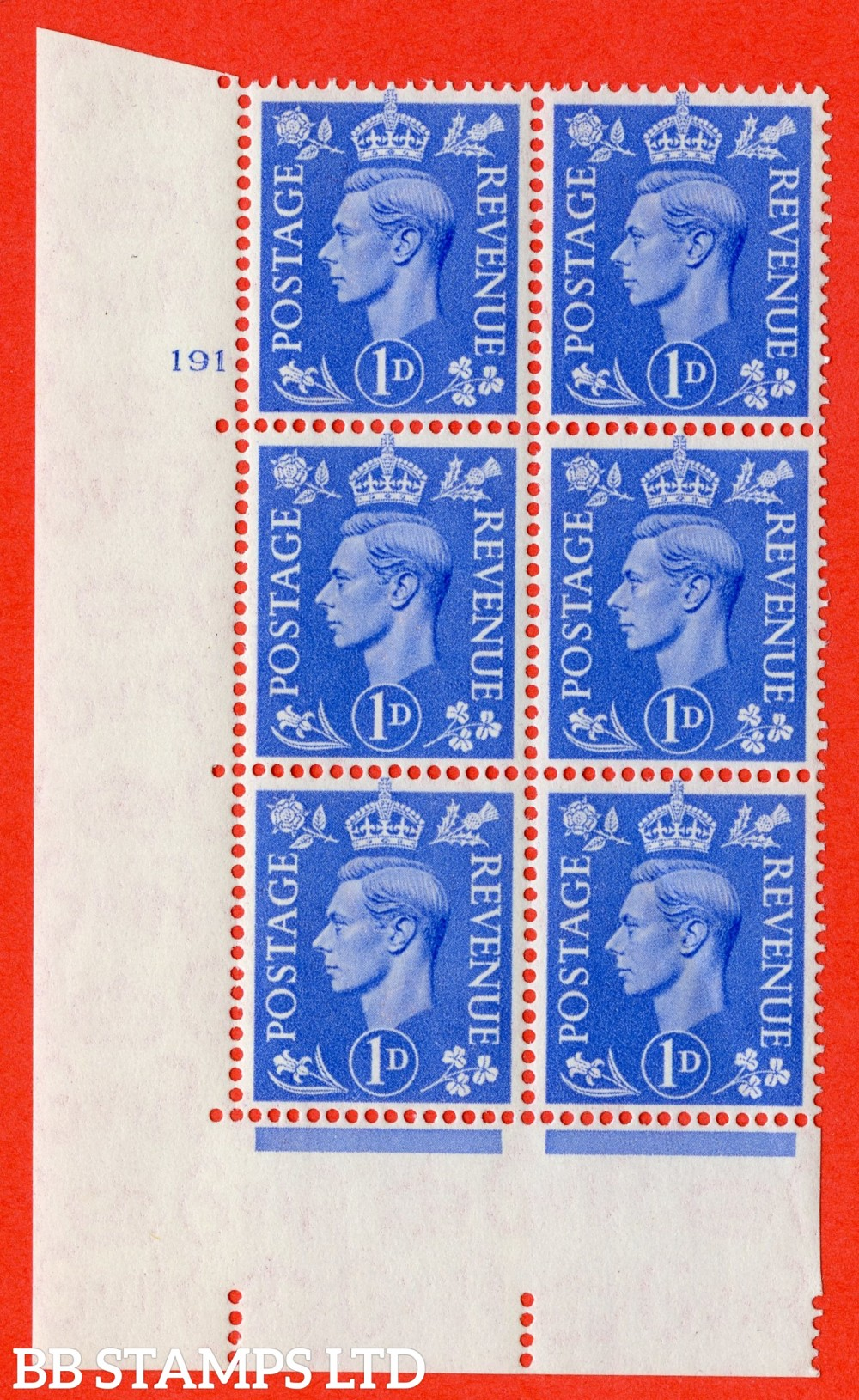 """SG. 504. Q6. 1d Light ultramarine. A superb UNMOUNTED MINT """" No Control cylinder 191 no dot """" control block of 6 with perf type 5 E/I."""