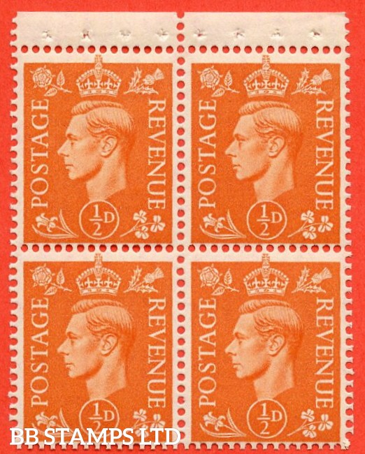 "SG. 503. QB8. ½d orange. A fine UNMOUNTED MINT complete booklet pane of 4 with selvedge. Perf type "" P ""."