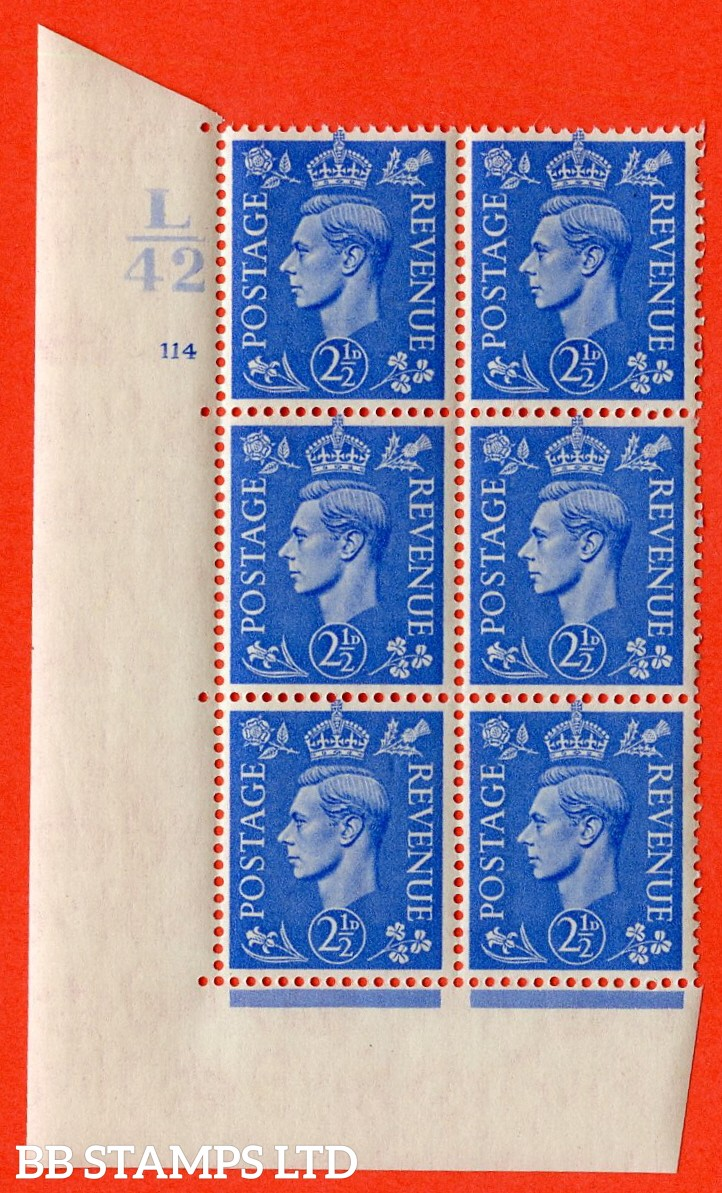 "SG. 489. Q14. 2½d Light ultramarine. A superb UNMOUNTED MINT ""  Control L42 cylinder 114 no dot "" control block of 6 with perf type 5 E/I."