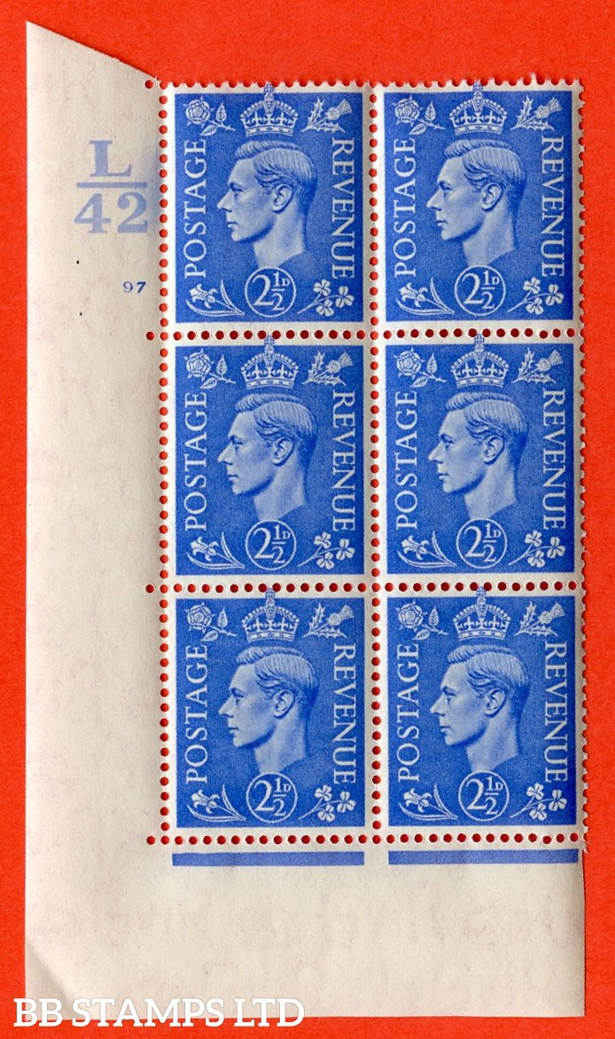 """SG. 489. Q14. 2½d Light ultramarine. A superb UNMOUNTED MINT """" Control L42 cylinder 97 no dot """" control block of 6 with perf type 5 E/I."""