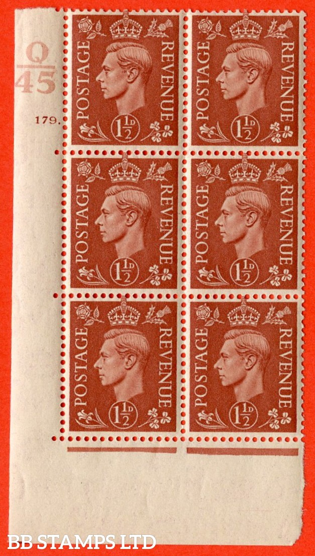 "SG. 487. Q8. 1½d Pale Red-Brown. A superb UNMOUNTED MINT "" Control Q45 cylinder 179 dot "" control block of 6 with perf type 5 E/I. with marginal rule."