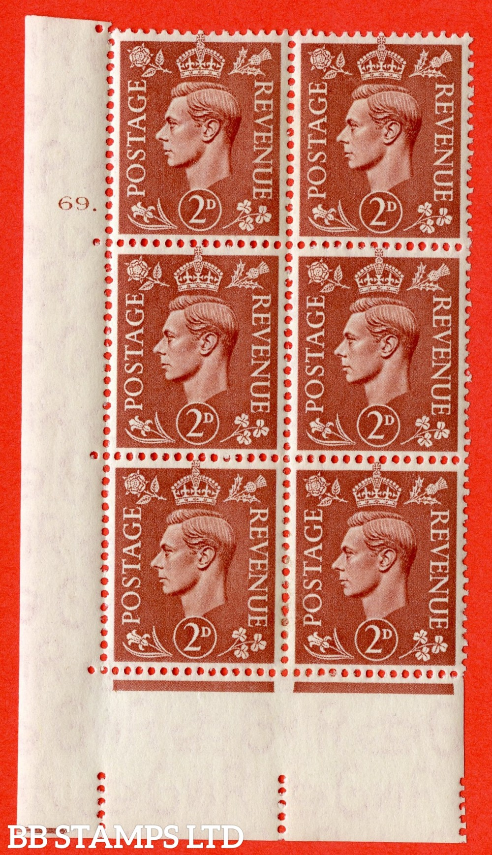 "SG. 506. Q12. 2d Pale Red-Brown. A fine lightly mounted mint "" No Control cylinder 69 dot "" control block of 6 with perf type 5 E/I."