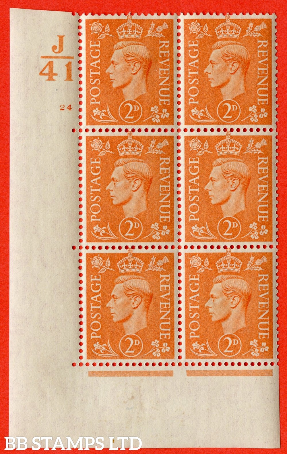 "SG. 488. Q11. 2d Pale Orange. A fine ligthtly mounted mint "" Control J41 cylinder 24 no dot "" control block of 6 with perf type 5 E/I."
