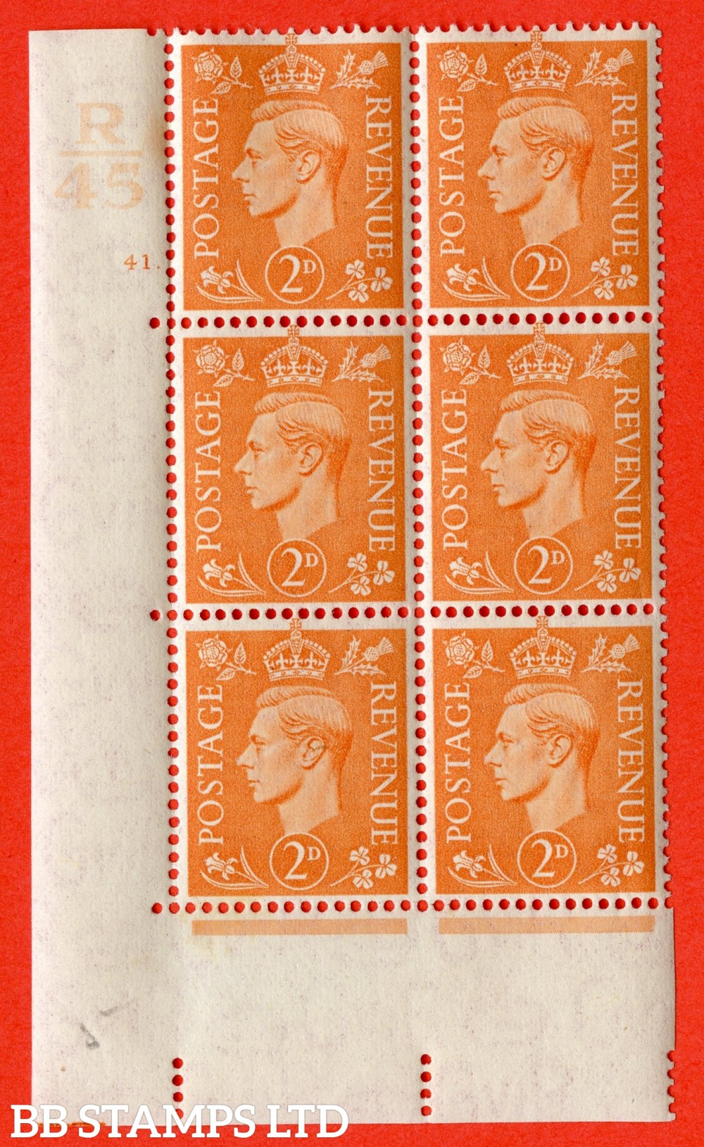 "SG. 488. Q11. 2d Pale Orange. A fine ligthtly mounted mint "" Control R45 cylinder 41 dot "" control block of 6 with perf type 5 E/I."
