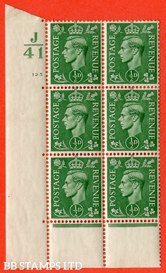 "SG. 485. Q2. ½d Pale Green. A superb UNMOUNTED MINT "" Control J41 cylinder 125 no dot "" block of 6 with perf type 6B E/P with marginal rule."