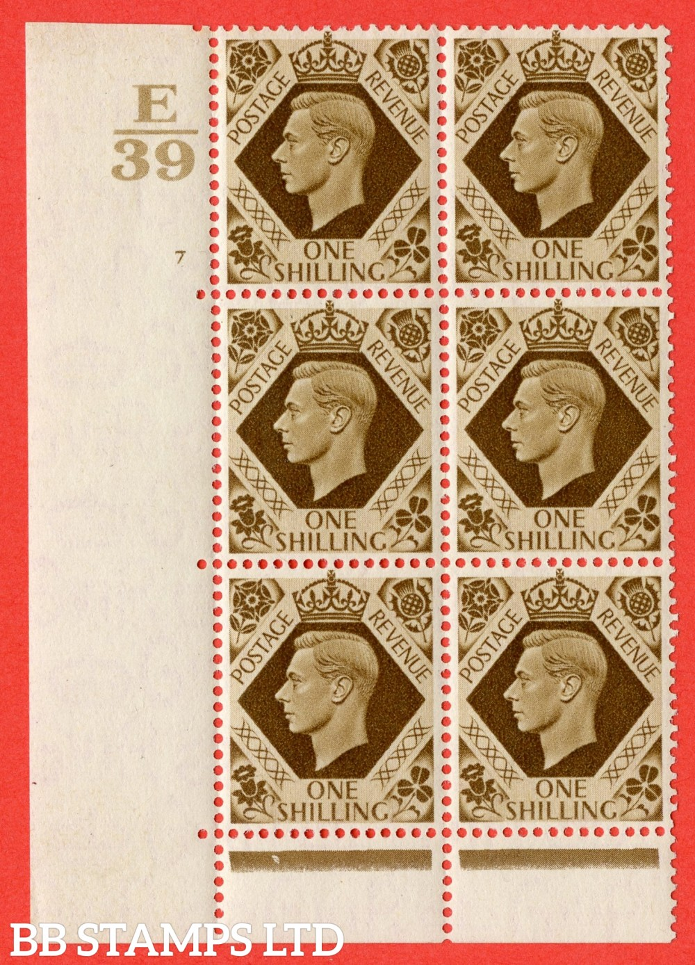 """SG. 475. Q28. 1/- Bistre-Brown. A superb UNMOUNTED MINT """" Control E39 cylinder 7 no dot """" control block of 6 with perf type 6B E/P."""