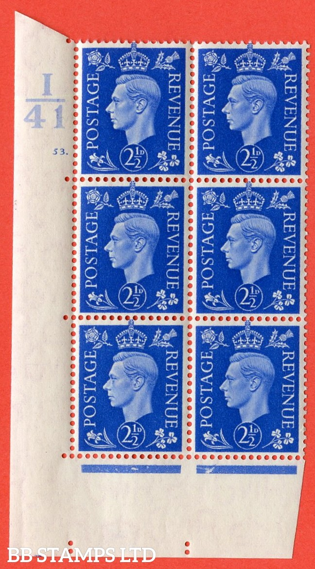 "SG. 466. Q13. 2½d Ultramarine.  A superb UNMOUNTED MINT "" Control I41 cylinder 53 dot "" control block of 6 with perf type 5 E/I with marginal rule."