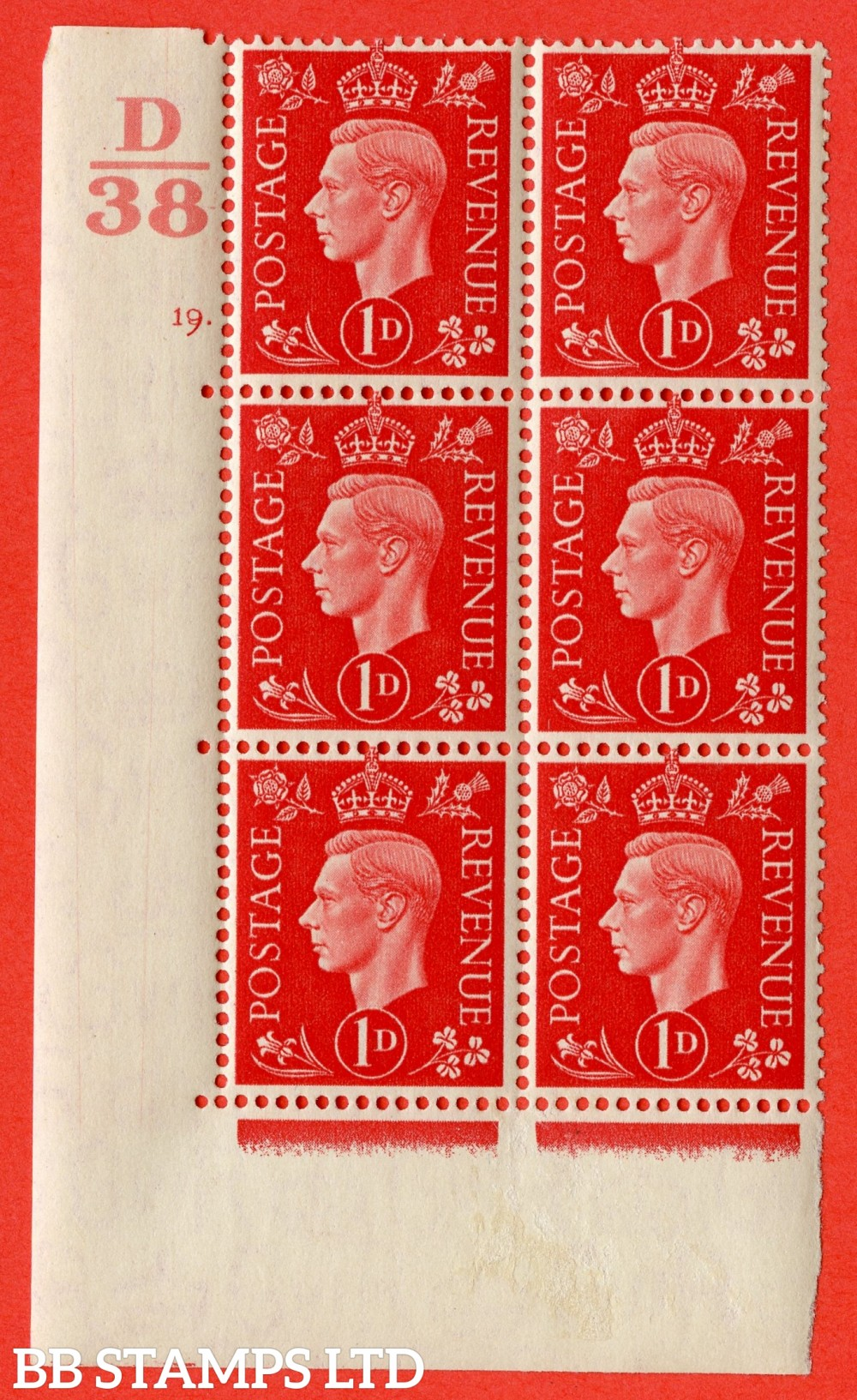 "SG. 463. Q4. 1d Scarlet. A very fine lightly mounted mint "" Control D38 cylinder 19 dot "" block of 6 with perf type 5 E/I with marginal rule."