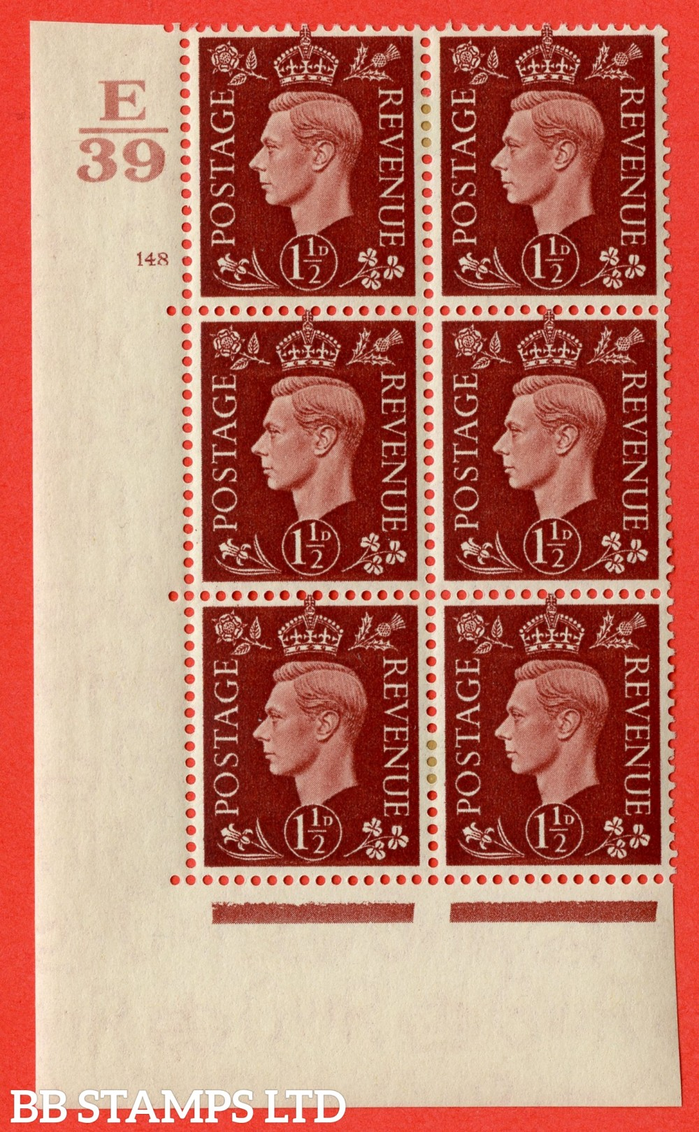 "SG. 464. Q7. 1½d Red-Brown. A very fine mounted mint "" Control E39 cylinder 148 no dot "" control block of 6 with perf type 5 E/I. with marginal rule."