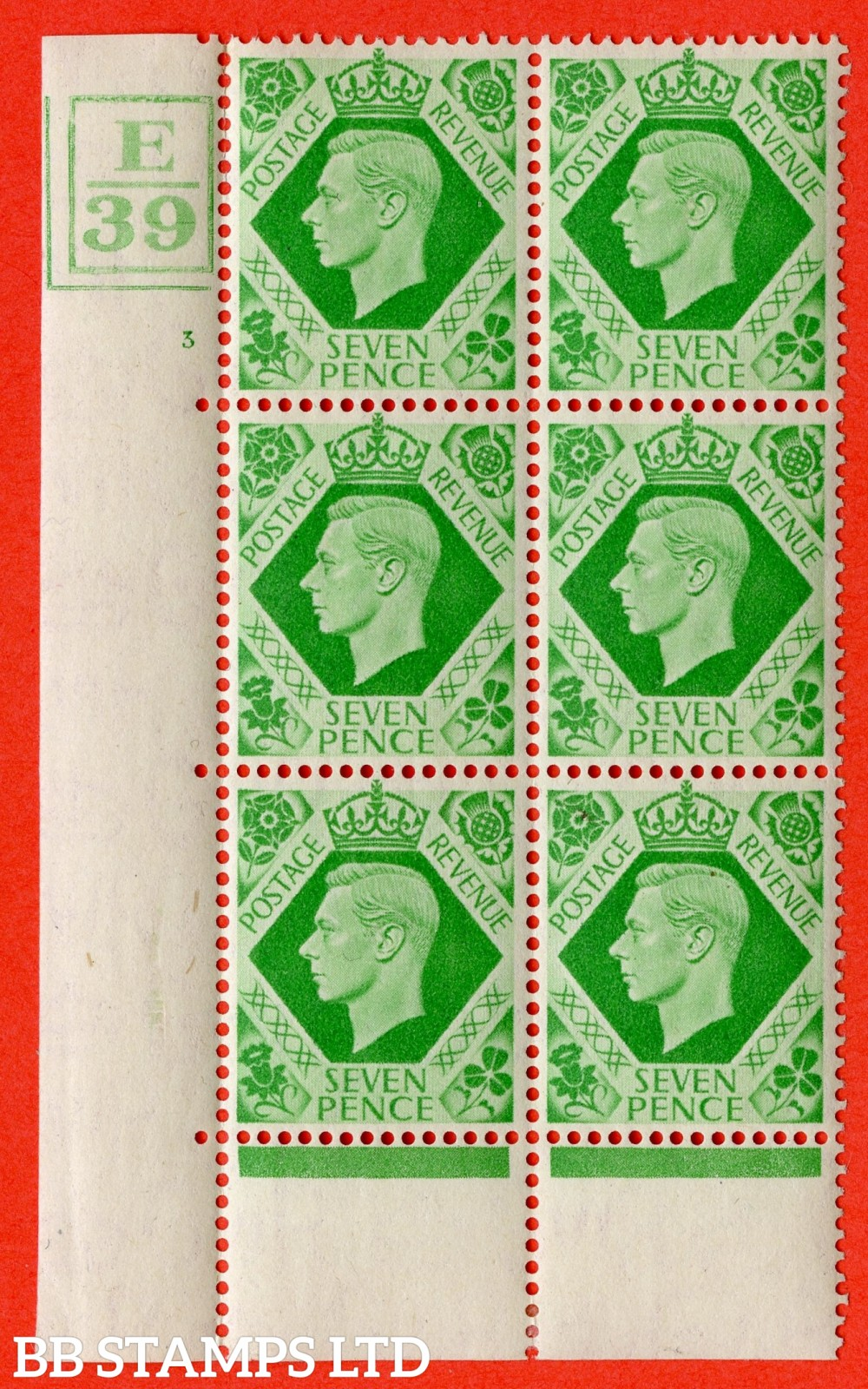 """SG. 471. Q23. 7d Emerald-Green. A fine lightly mounted mint """" Control E39 Bar left and bottom cylinder 3 no dot """" control block of 6 with perf type 6B E/P."""