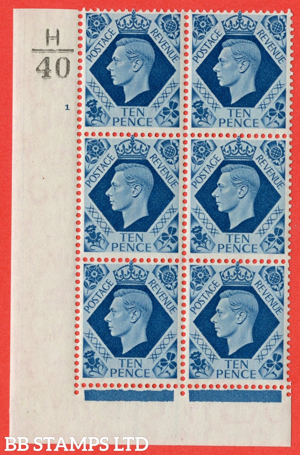 "SG. 474. Q26. 10d Turquoise-Blue. A fine mounted mint "" Control  H40 cylinder 1 no dot "" control block of 6 with perf type 2 I/E."