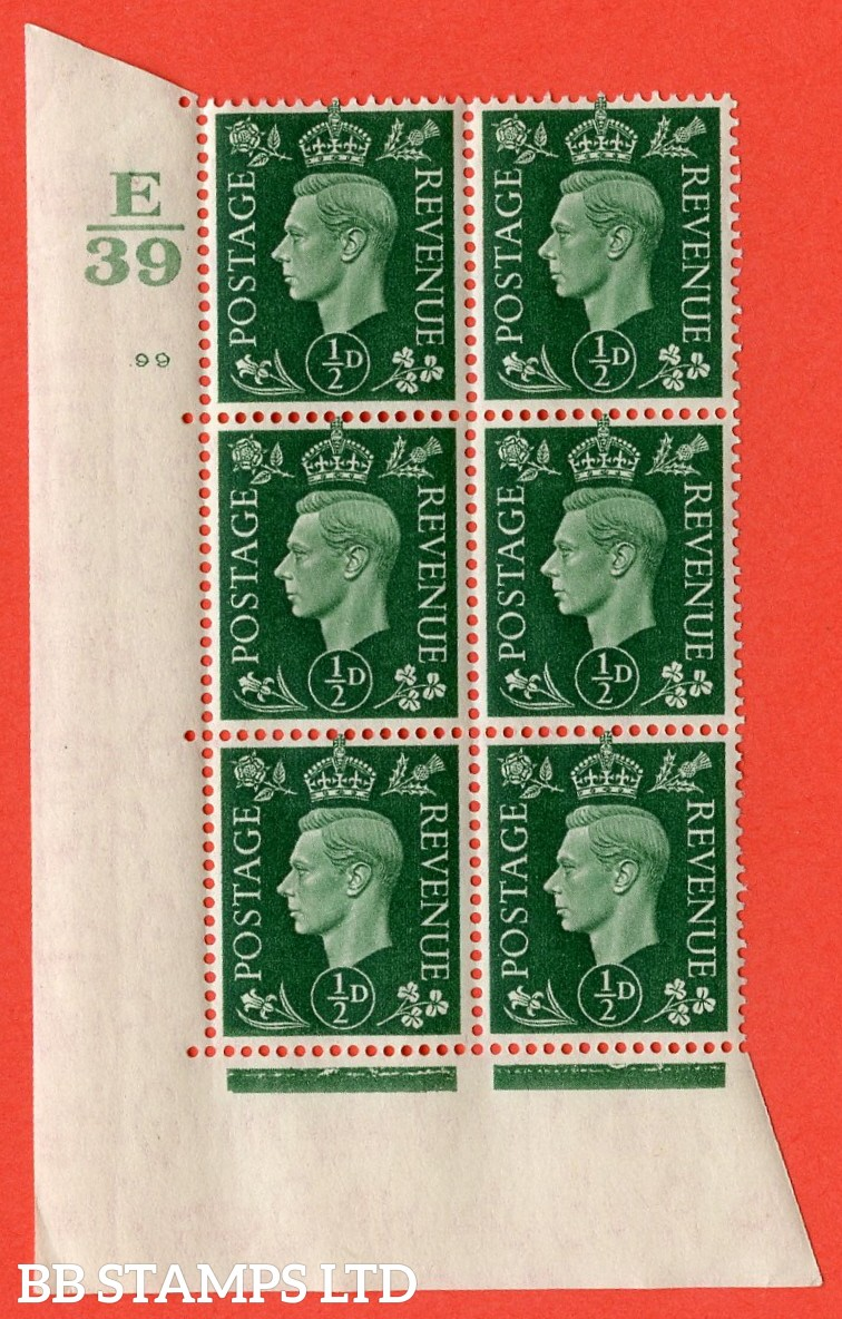 """SG. 462. Q1. ½d Green. A superb UNMOUNTED MINT """" Control E39 cylinder 99 no dot """" block of 6 with perf type 5 E/I with marginal rule."""