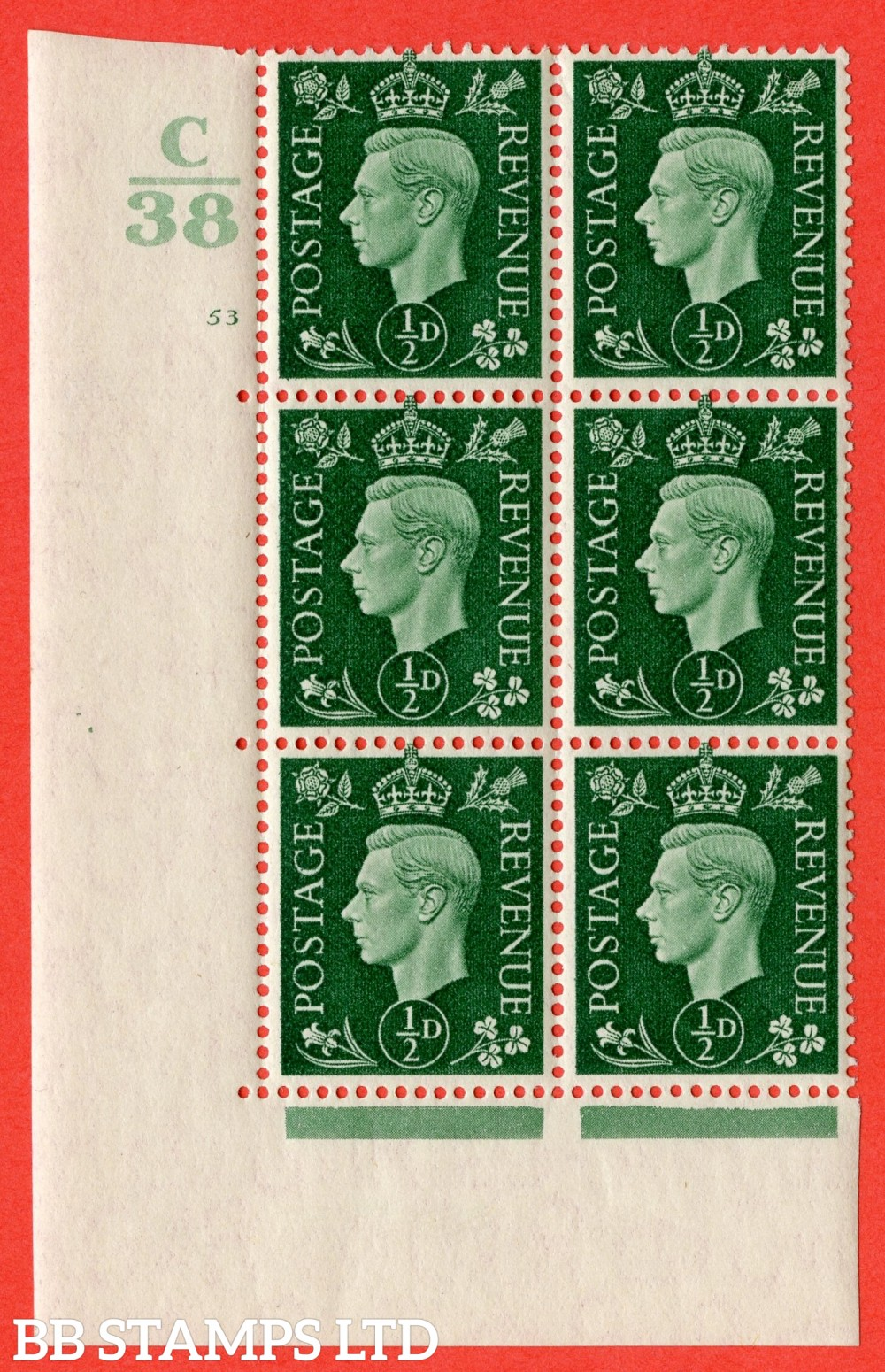 """SG. 462. Q1. ½d Green. A superb UNMOUNTED MINT """" Control C38 cylinder 53 no dot """" block of 6 with perf type 5 E/I with marginal rule."""