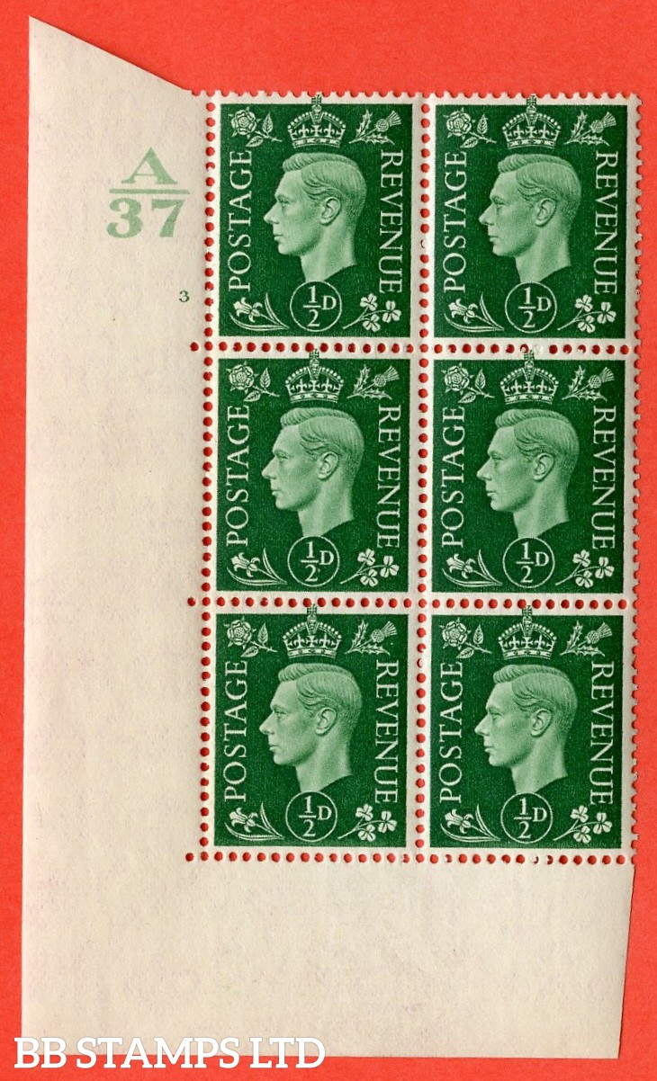 "SG. 462. Q1. ½d Green. A superb UNMOUNTED MINT"" Control A37 cylinder 3 no dot "" block of 6 with perf type 5 E/I without marginal rule."