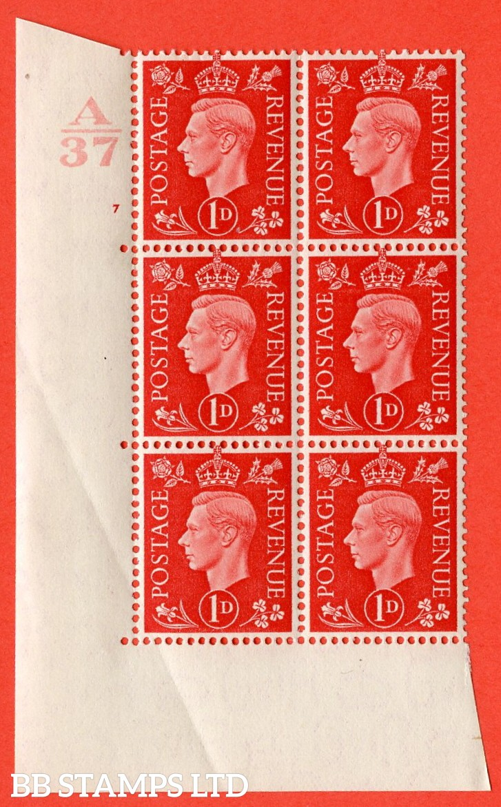 "SG. 463. Q4. 1d Scarlet. A superb UNMOUNTED MINT "" Control A37  cylinder 7 no dot "" block of 6 with perf type 5 E/I without marginal rule."